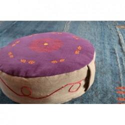 Pouf violet rosace rouge